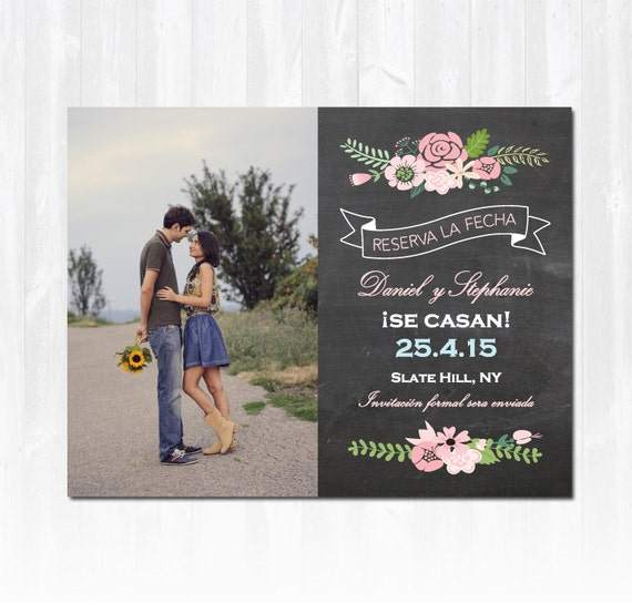 Spanish save the date magnet or card with pink flowers and for Wedding invitations in spanish etsy