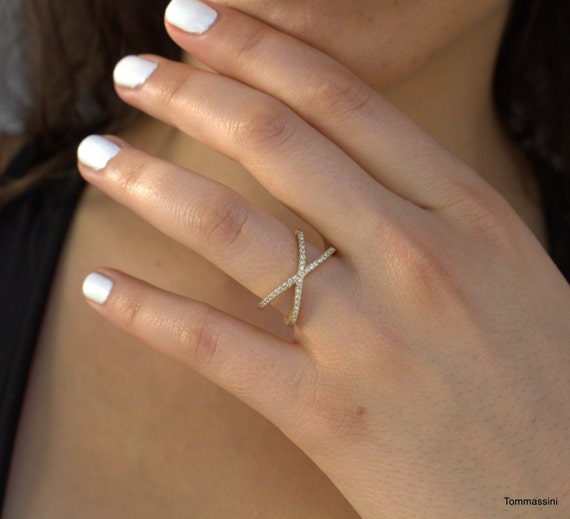 Criss Cross Wedding Band With Engagement Ring