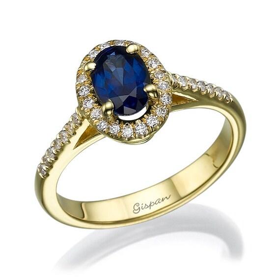 Blue Sapphire engagement ring, Diamond Ring, Antique Ring, Oval Cut Ring, Unique Engagement Ring, Gem Ring, 14k yellow gold ring