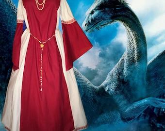 FREE SHIP Medieval Gown SCA Garb Renaissance Costume Claret White Particolor 1pc lxl