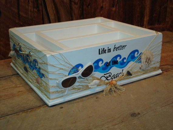 Beach party tableware caddy organizer for napkins paper for Table utensils