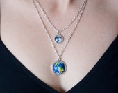 Earth and Moon necklace, Solar system, silver, pendant necklace, Space jewelry, galaxy necklace, Universe, Planets