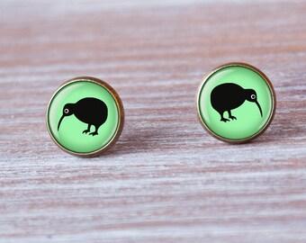 Bird earrings, Kiwi Bird, bird, post earrings, studs, birds, tiny Earrings stud, bff gift, gift for her