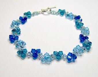 Blue Sky Blue Bracelet, swarovski bracelet, blue bracelet, bicone bracelet, beaded bracelet, beadwork bracelet, crystal bracelet BR003