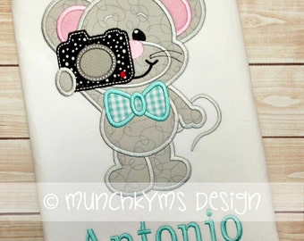 Say Cheese Mouse Boy Applique