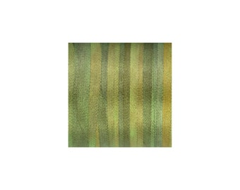 """3.28yd Green Lawn Silk Ribbon - 1/8"""" (4 mm) wide - Space Dyed"""
