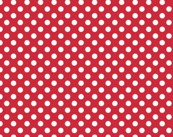 """End Of Bolt Remnant 24"""" x 44"""" Red Small Dots Riley Blake Polka Dot"""
