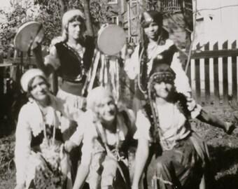 Vintage 1930 Group Of Gypsy Girls  Snapshot Photo - Free Shipping