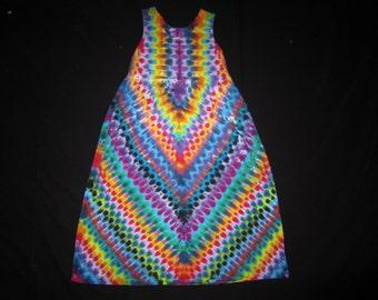 Psychedelic Tie Dye Sleeveless Dress, Size Medium with pockets