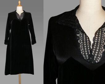 original 20s Flapper Dress, art nouveau, black, velvet,1920s dress