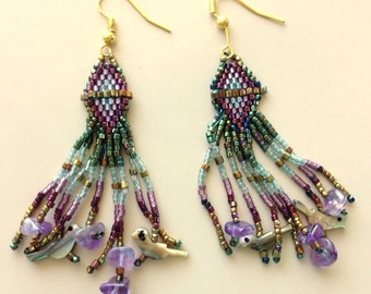 Seed Bead Earrings With Amethyst and Indian Bird Fetishes - Exquisite Drop and Dangle Ombre Earrings