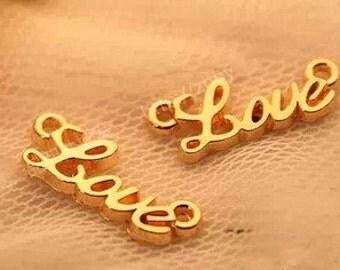 "DIY  jewelry 50pcs antiqued gold"" love"" charm pendant  20×9mm"