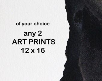 Abstract Print Set, 12 x16, Modern Portraits Wall Decor Art, A3, Any 2 Prints in 30 x 42 cm