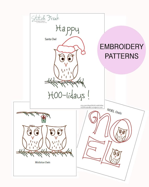 Happy HOO-lidays! Owl Christmas embroidery PATTERNS
