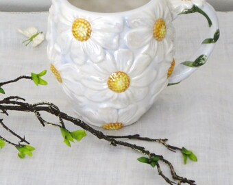 Ceramic Daisy Mug, Gibson Designs Iridescent White Daisy Flower Mug