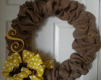 Burlap wreath with initial and polka dot bow