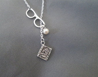 Librarian Bookworm Necklace - Lariat Style