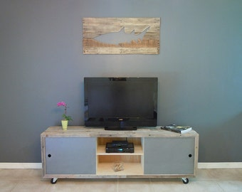Industrial TV Stand, Pallet TV Media Console, SALE