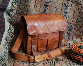 "FHT Camel Leather Explorer Messenger Bag Shoulder Travel Satchel 12""x14""x6"""