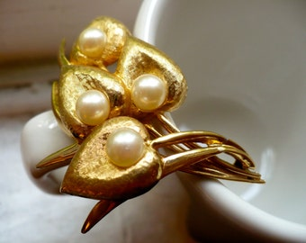 Leaf Pin with Faux Pearls - 1950s