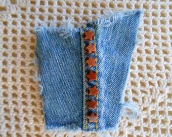 Lapel pin in denim w/ goldstone star beads on seamline, recycled upcycled vintage denim brooch hat coat pin, denim jewelry