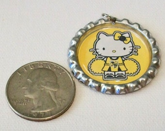 Cute Gold and Black Georgia Tech Inspired Cheerleader Flattened Bottlecap Pendant Necklace