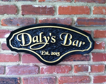 Classy Personalized Bar Sign with Established year - Custom Carved Signs