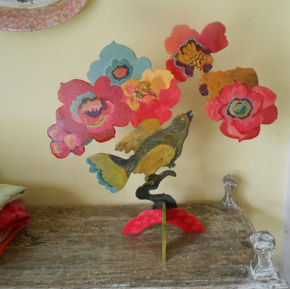 Summer Berry Birds wood sculpture by Kimberly Hodges, folk art sculpture, wood bird sculpture, cottage chic