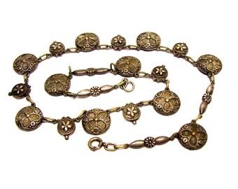 Antique Art Deco Stamped Metal Link Necklace