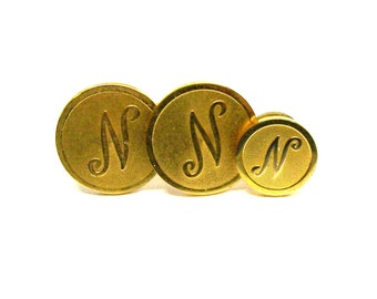 Vintage Dante' Gold Tone Initial N Cuff links Sleeve Jewelry
