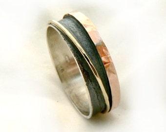 Two tone wedding band oxidized sterling silver, shiny sterling silver and two tone 9k gold 3D ring- ilanamir