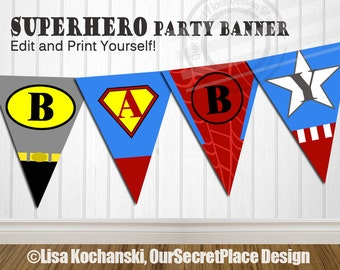 INSTANT DOWNLOAD Editable Superhero Banner Super hero Banner Super hero Baby Shower Decorations Boy Superhero Baby Shower Super hero Party