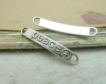 15 pcs 6x38mm Antique Silver Vintage Letters Peace Signs Rectangular Double Loops Connectors Links Charms Pendants