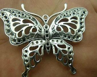 2pcs 48x60mm Antique Silver Butterfly Pendants