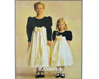 Little Girls Empire Waist Dress Pattern / McCalls 9134 Puff Sleeve Party Dress / Girls Bridal Flower Girl Dress Pattern Size 7 8 10 OOP