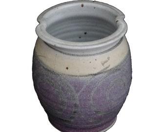 Signed Lavender and White Glazed Earthenware Jar