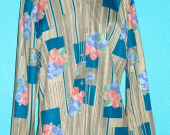 "1970s Vintage ""Montgomery Ward"" Ladies Disco Shirt"