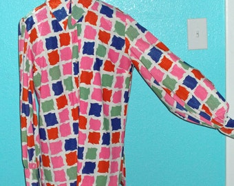 "60s Vintage Plus Size ""Stockton"" Ladies Mod Stylized Houndstooth Print Long Sleeve Blouse — Size XL"