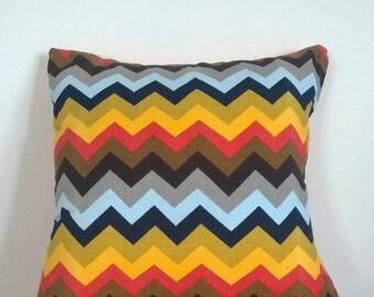 Colourful retro chevron cushion cover. Dual side. 40x40cm