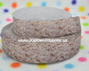 3 yards Marine MARPAT Brown Camo - 7/8 inch - Printed Grosgrain Ribbon