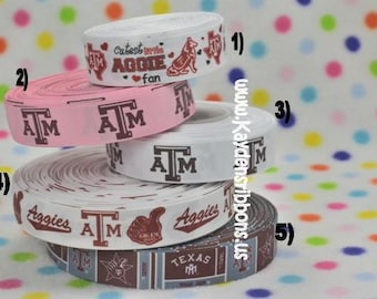 3 yards Texas A&M - 7/8 inch or 1 in CHOOSE DESIGN - Printed Grosgrain Ribbon