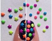Neon Star/Dot nail art studs