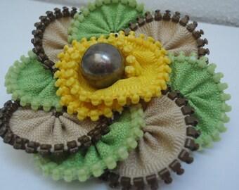 Handmade Zip corsage brooch, Zip flower, Brooch with a pin