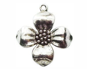 5 Silver Dogwood Charm Flower Pendant 26x22mm by TIJC SP0305