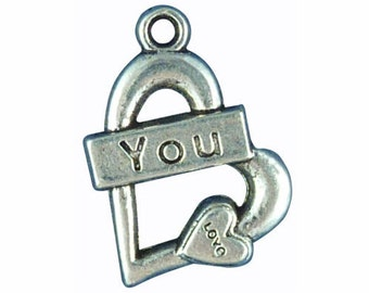 5 Silver I Love You Heart Charm Love Pendant 24x18mm by TIJC SP0136