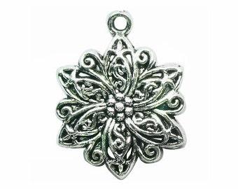 5 Filigree Poinsettia Silver Flower Charm Pendant 31x24mm by TIJC SP0903
