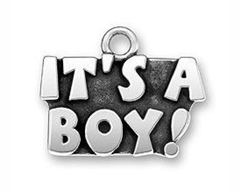 5 Its a Boy Silver Baby Charm Pendant New Mother Jewelry 15x18mm by TIJC SP0159