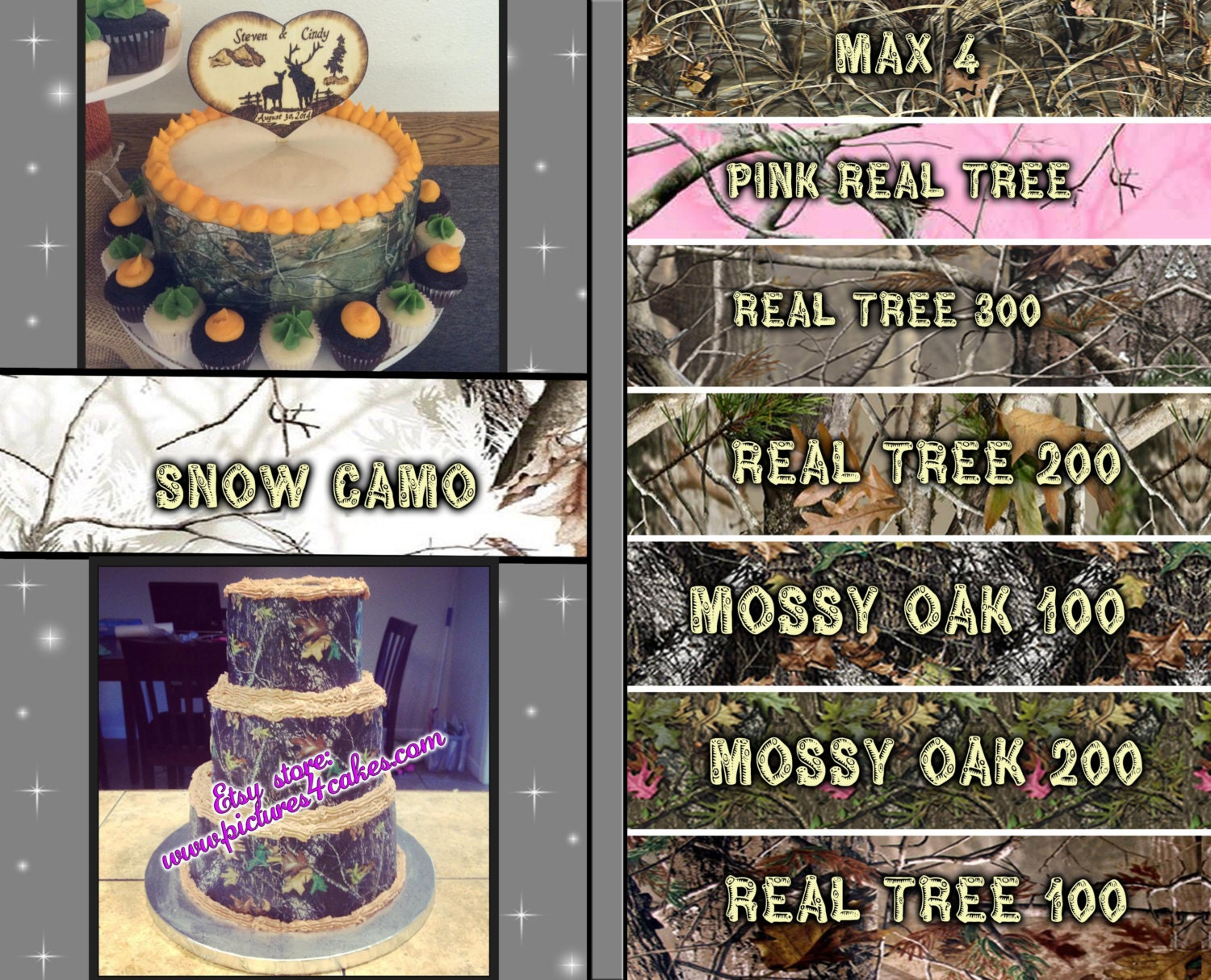 Camouflage cake strips or toppers edible sugar by Pictures4Cakes