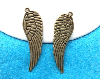 10pc antique bronze angel wings charms pendant accessories