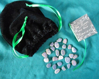 Tiny Runes and Book in Velvet Pouch